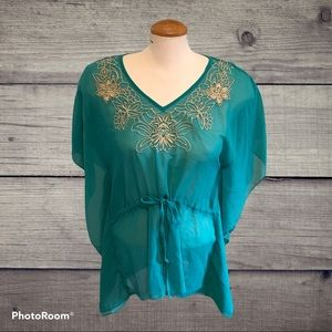 XXI Forever 21 Teal Sheer Tunic with Embroidery